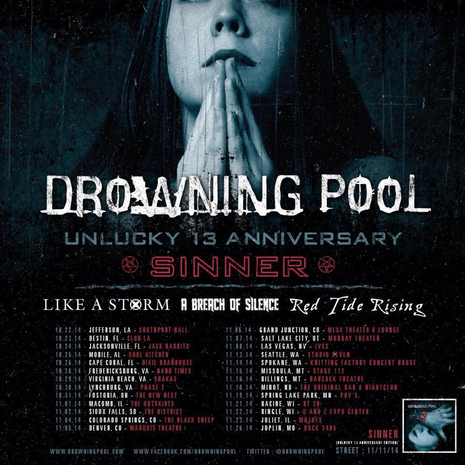 Drowning Pool Unlucky 13 Anniversary - poster