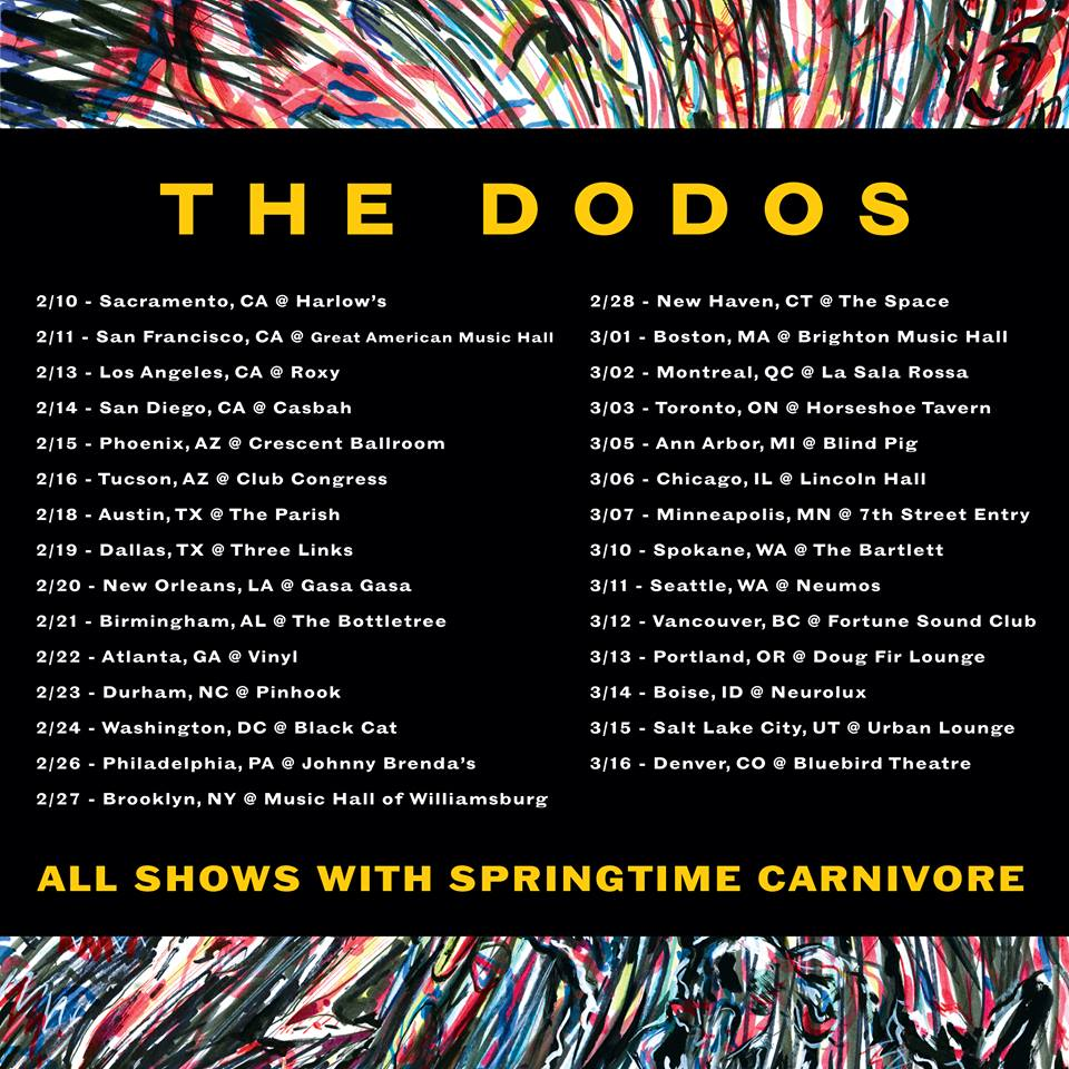 The Dodos - North American Winter 2015 Tour - poster