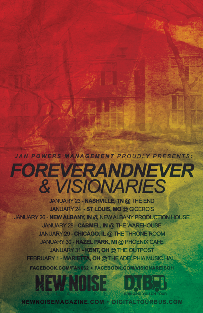ForeverandNever + Visionaries - Midwest tour 2015 - poster