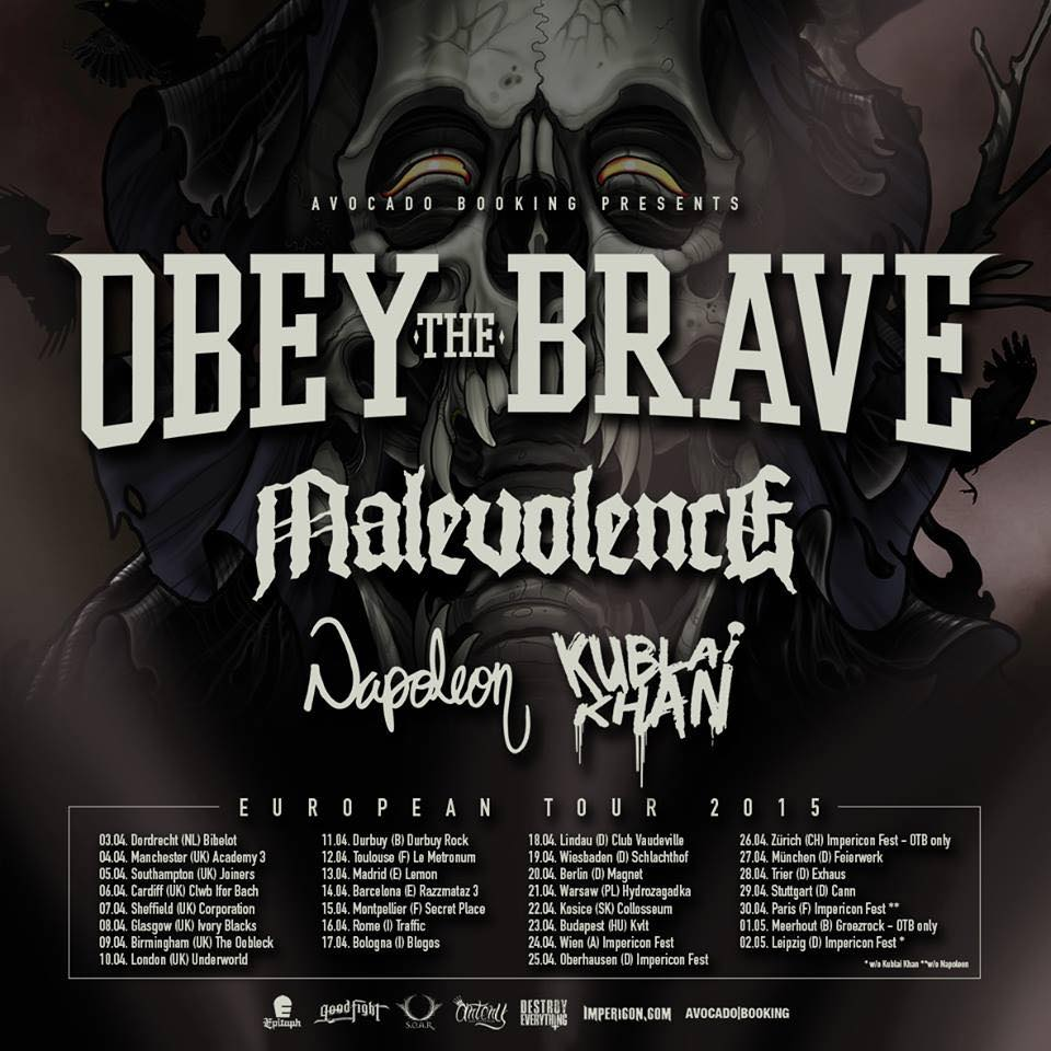 Obey The Brave - European Tour 2015 - poster