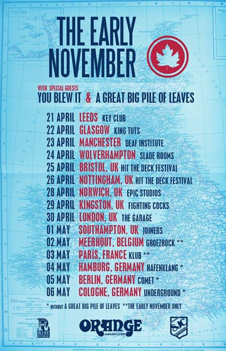 The Early November - UK and European Tour 2015 -poster