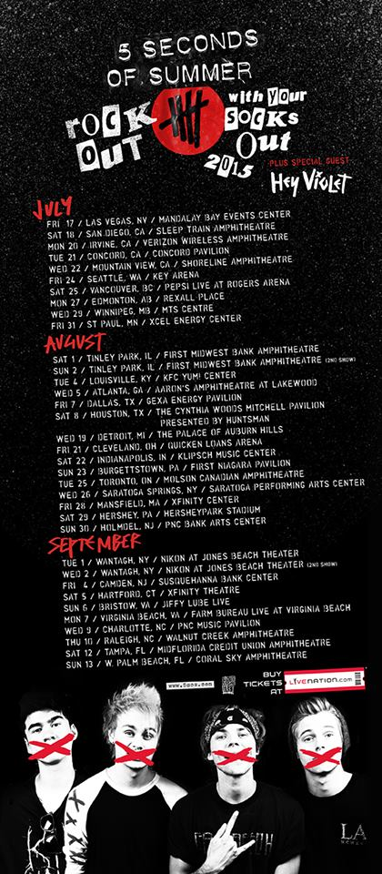 5 Seconds Of Summer - Rock Out With Your Socks Out North American Tour - poster