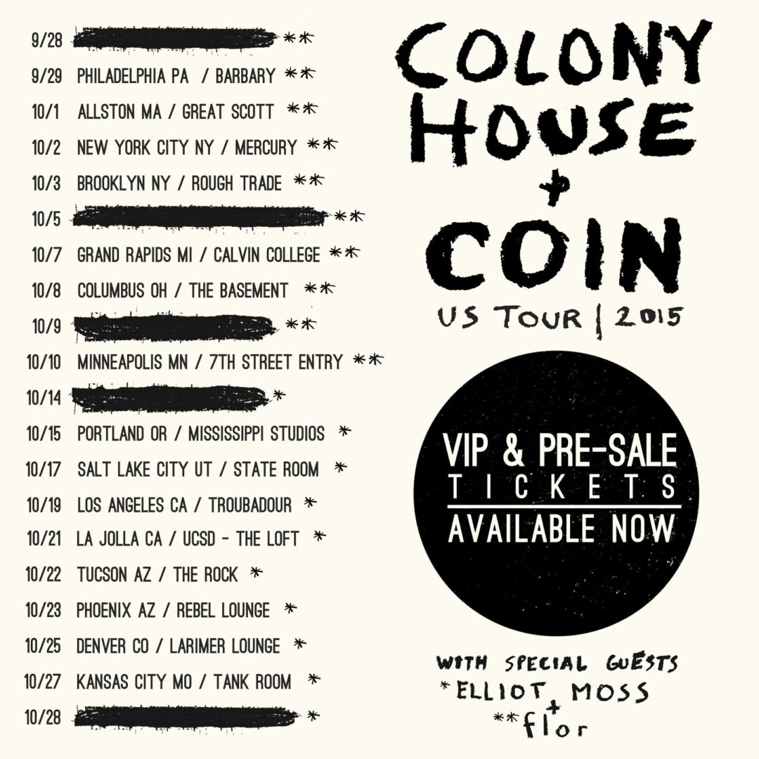 Colony House and Coin   Fall U S  Tour   2015 Tour Poster. Colony House Announce Co Headline U S  Tour with COIN   Digital