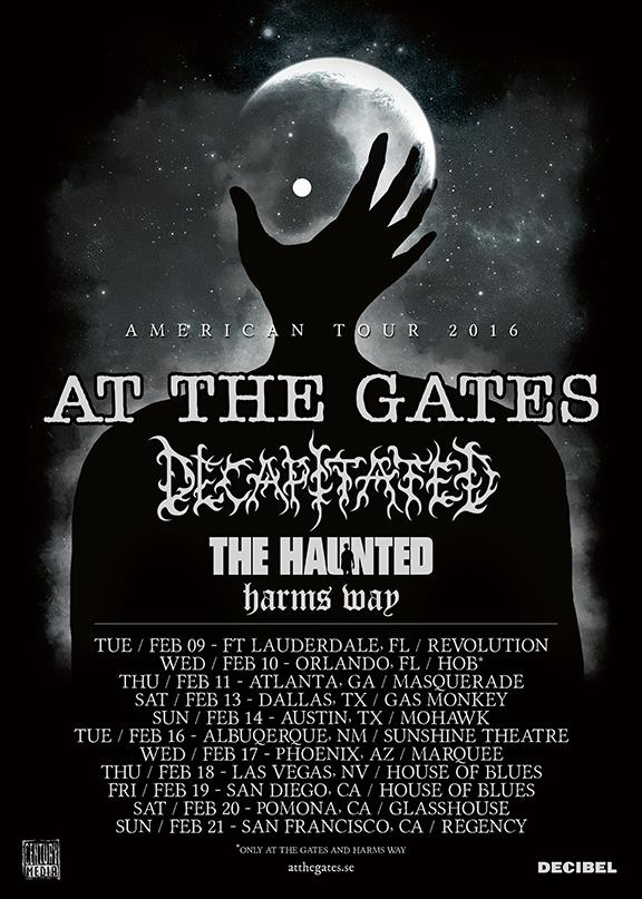 At The Gates - 2016 U.S. tour with Decapitated - poster