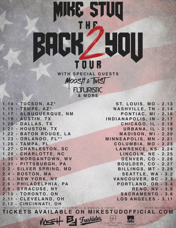 Mike Stud - Back 2 You Tour - 2016 Tour Poster