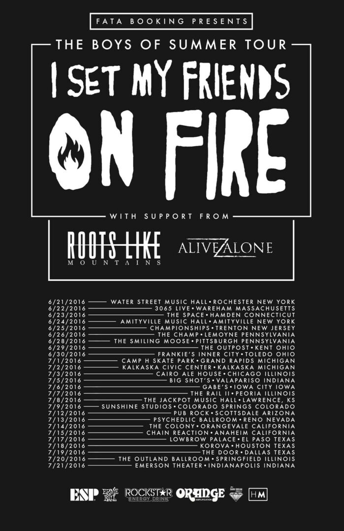 I Set My Friends on Fire - The Boys Of Summer Tour - poster
