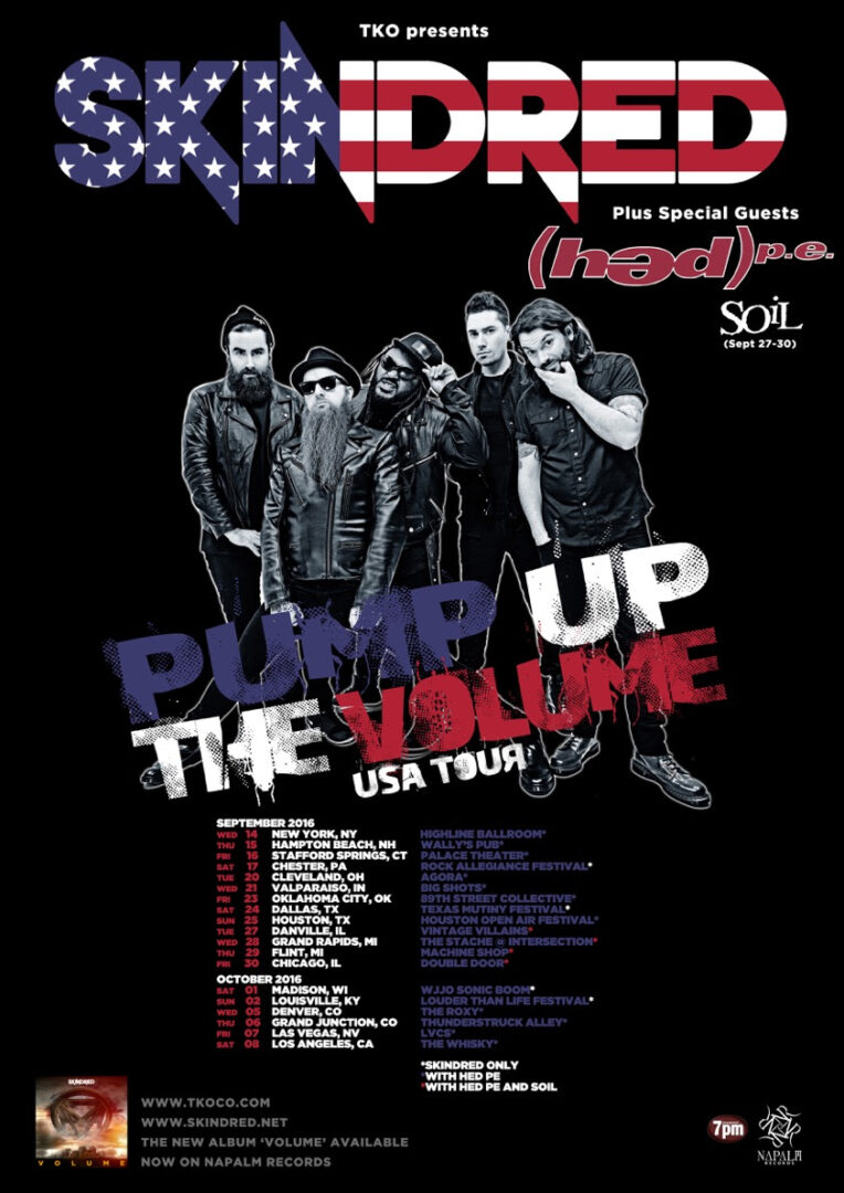Skindred - U.S. Pump Up The Volume Tour - 2016 Tour Poster