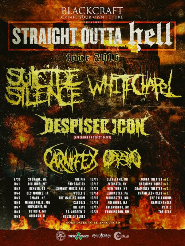 Whitechapel - Straight Outta Hell Tour - poster